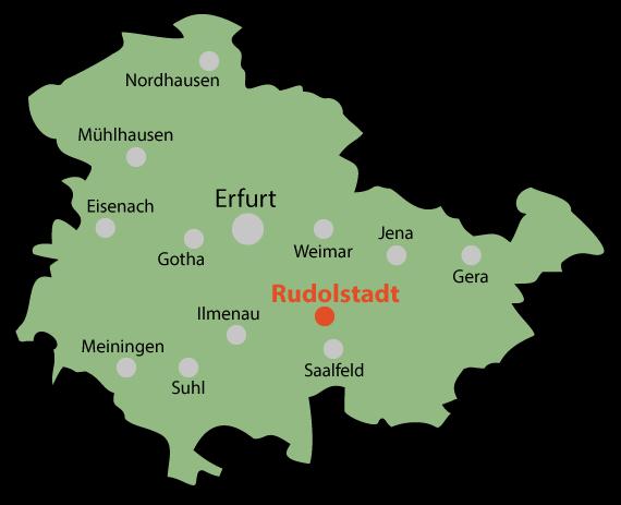 Rudolstadt - Thüringenkarte mit Städtepunkten