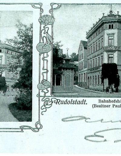 Postkarte vom Thüringer Hof Rudolstadt um 1915