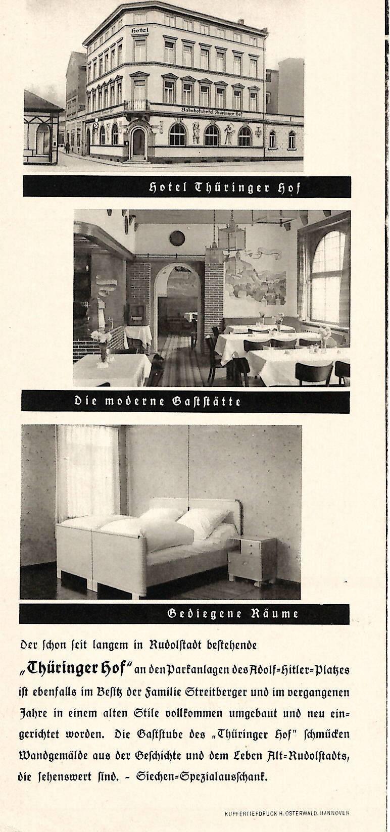 Chronik vom Hotel Thüringer Hof in Rudolstadt - Ein Prospekt vom Thüringer Hof Rudolstadt aus dem Jahr 1938