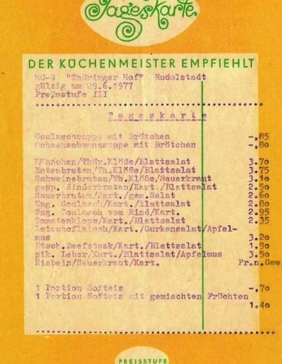 Tageskarte Thüringer Hof Rudolstadt vom 29.06.1977