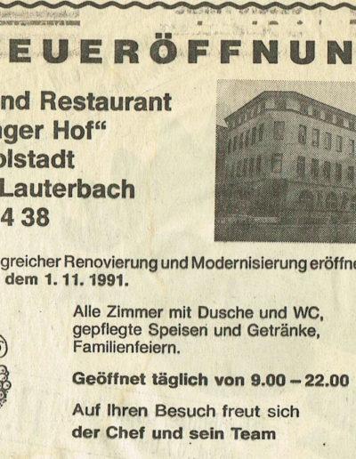 Zeitungsinserat zur Neueröffnung 1991
